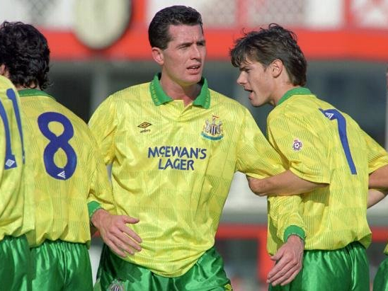 Newcastle United, 1992 away kit, yellow and green newcastle, Mcewans lager
